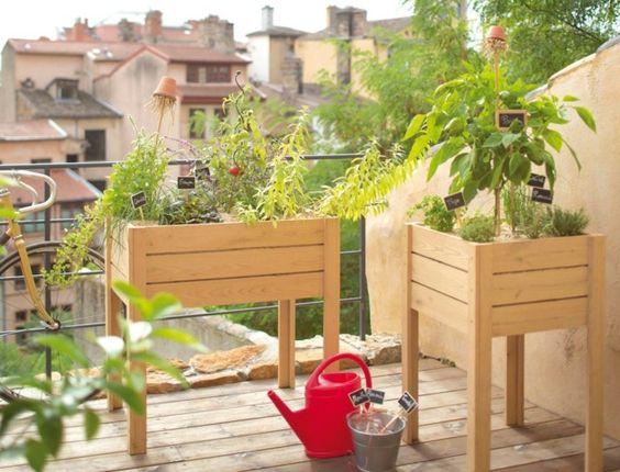 carré de potager sur balcon